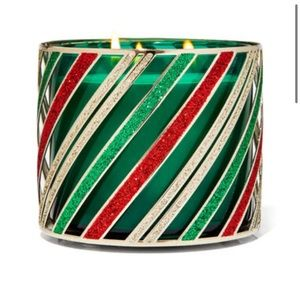 Holiday stripes candle holder